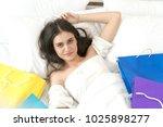 top view attractive beautiful... | Shutterstock . vector #1025898277