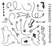 arrows big set   hand drawn... | Shutterstock . vector #1025908513