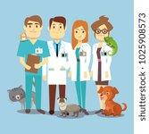 flat veterinarians staff with... | Shutterstock . vector #1025908573