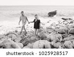 black and white view of mum and ... | Shutterstock . vector #1025928517