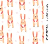 cute. rabbit. hare. seamless... | Shutterstock .eps vector #1025933107