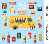 food truck with big set summer... | Shutterstock . vector #1025933833