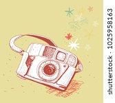 retro photo camera  vector... | Shutterstock .eps vector #1025958163