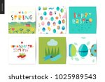 set of easter and spring... | Shutterstock .eps vector #1025989543