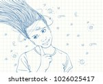blue pen sketch on square grid... | Shutterstock .eps vector #1026025417