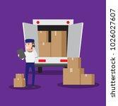 cartoon good man worker in... | Shutterstock .eps vector #1026027607