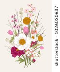 bouquet. spring flowers and... | Shutterstock .eps vector #1026030637