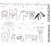 animal cartoon set isolated on... | Shutterstock .eps vector #1026042247
