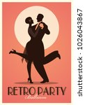 retro party poster. silhouettes ... | Shutterstock .eps vector #1026043867
