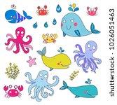 vector set of sea animals ... | Shutterstock .eps vector #1026051463