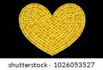 sequins heart on black... | Shutterstock . vector #1026053527