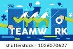 teamwork business running... | Shutterstock .eps vector #1026070627