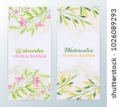 watercolor floral banners.... | Shutterstock . vector #1026089293