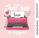 pink typewriter with typography ... | Shutterstock .eps vector #1026129247