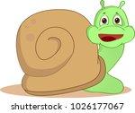 cartoon snail with big shell... | Shutterstock .eps vector #1026177067
