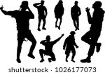 set of black silhouettes of... | Shutterstock .eps vector #1026177073