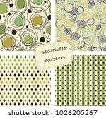 set of 4 vintage seamless... | Shutterstock .eps vector #1026205267