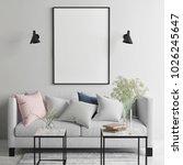 mock up poster in scandinavian... | Shutterstock . vector #1026245647