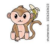 grated adorable monkey wild... | Shutterstock .eps vector #1026263623