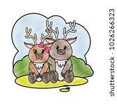 grated reindeer couple cute... | Shutterstock .eps vector #1026266323