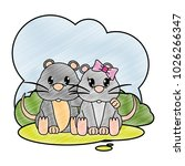 grated mouse couple cute animal ... | Shutterstock .eps vector #1026266347