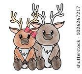 grated reindeer couple cute... | Shutterstock .eps vector #1026267217