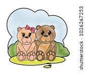 grated bear couple cute animal... | Shutterstock .eps vector #1026267253