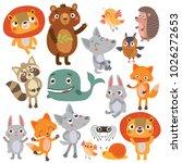 funny animals big set | Shutterstock .eps vector #1026272653
