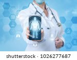 doctor shows in the mobile... | Shutterstock . vector #1026277687