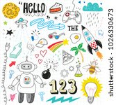hand drawn doodle icon set | Shutterstock .eps vector #1026330673