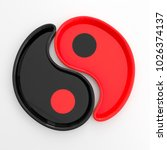 Small photo of Yin Yang cups mug black porcelain faience red blue composition saucers white isolated background