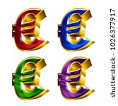 set of shiny golden euro icons... | Shutterstock .eps vector #1026377917