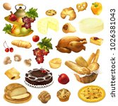 cake  bakery  pie  cheese and... | Shutterstock . vector #1026381043
