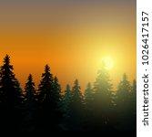 landscape with coniferous... | Shutterstock .eps vector #1026417157