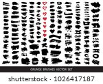 set of black paint  ink brush... | Shutterstock .eps vector #1026417187