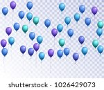 cyan balloons group isolated... | Shutterstock .eps vector #1026429073