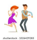 couple dancing. dance party...   Shutterstock .eps vector #1026429283