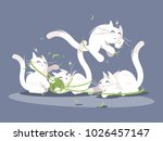 Stock vector lovely kittens play with ball of threads small pets vector illustration 1026457147