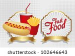hot dog combo with french fries ... | Shutterstock .eps vector #102646643