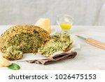 homemade cheesy spinach bread...   Shutterstock . vector #1026475153