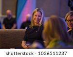 "Small photo of KINGSCLIFF, AUSTRALIA - JULY 16, 2015: Alisa Camplin and Rosemary Anne ""Rosie"" Batty participate in panel discussion at Mantra Group conference."