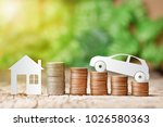 paper eco car and paper house... | Shutterstock . vector #1026580363