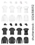 Blank uniform template: t-shirts, long sleeve shirts and hats. - stock vector