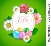 easter greeting card with... | Shutterstock . vector #1026581203