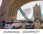 Small photo of LONDON, UK - FEB. 04, 2018: view of famous Tower Bridge over the River Thames, London, UK, England. Tower Bridge is a combined bascule and suspension bridge in London built between 1886 and 1894.