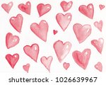 watercolor background hearts | Shutterstock . vector #1026639967