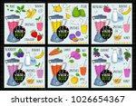 healthy juice detox smoothie... | Shutterstock .eps vector #1026654367