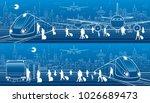 transport panorama set. people... | Shutterstock .eps vector #1026689473