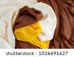 multicolored silk fabrics.... | Shutterstock . vector #1026691627