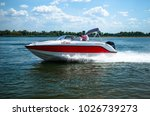 indoor motor boat on the river. ...
